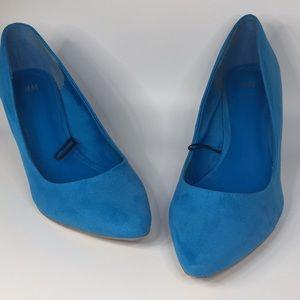 H&M size 10 Blue suede like pumps heels stilettos